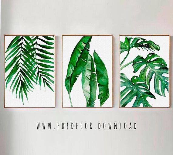 Tropical Leaves Set, Set of 3 Leaves Prints, Set of 3 Wall Art, Tropical Print, Watercolor Leaves, Leaves print, Wall Art, Art Prints, Art #50freeprintables