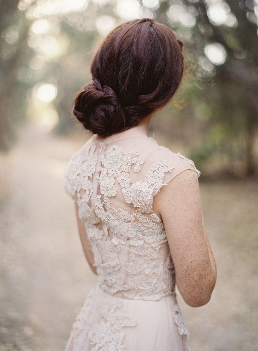 Simple bridal updo with beige gown from reem acra wedding updos