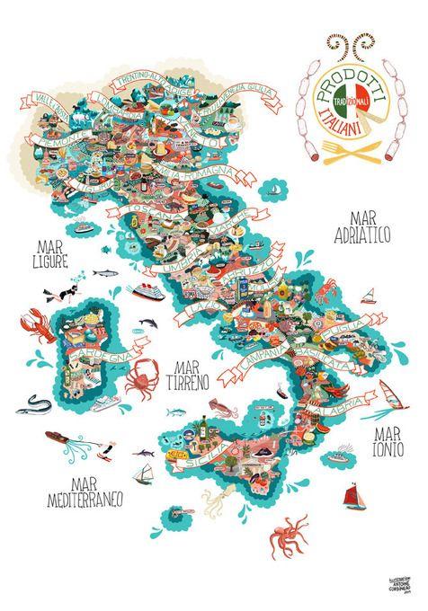 Basic Map Of Italy.Prodotti Tradizionali Italiani Basic Poster By Antoine Corbineau