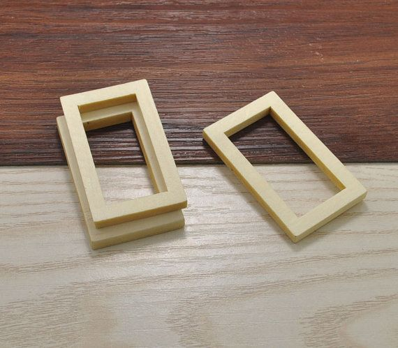 20pcs Wood Craft Rectangle Wooden Frame Accessories Rectangle Wood