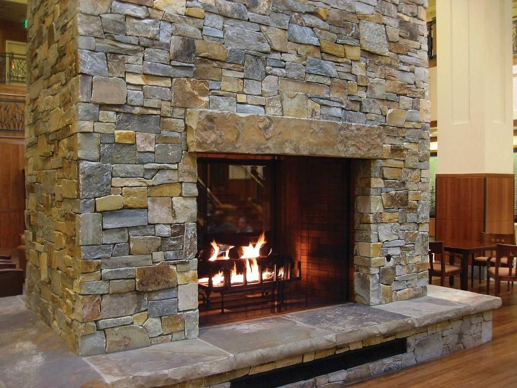 Stacked Stone Fireplace Large Stone Header For The