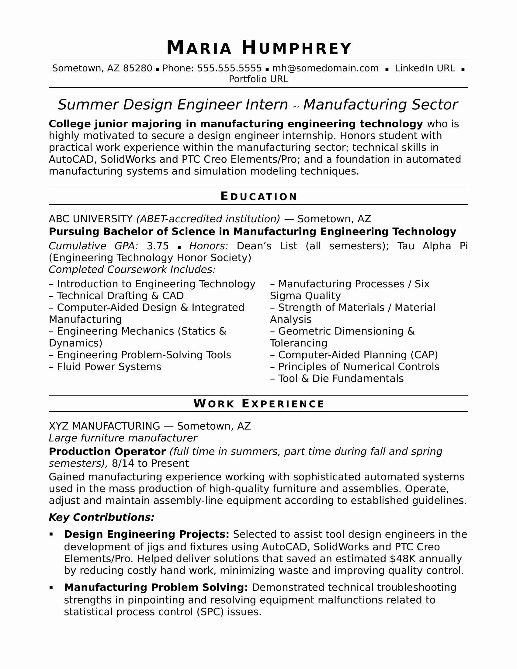 Mechanical Design Engineering Resume Inspirational Sample