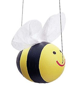 Easter Egg Bee: With this project, kids blow an egg, then turn it into a flying wonder. All you need is a raw egg, paint, craft supplies, and fishing line for hanging the egg. The best part? This blown-egg creature will keep indefinitely. [click for details] would be cute with plastic eggs as well