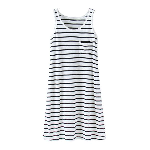 Striped Tank Dress with Pocket Detail|Disheefashion (€17) ❤ liked on Polyvore featuring dresses, pocket dress, striped tank dress, tanktop dress, striped dress and tank top dress