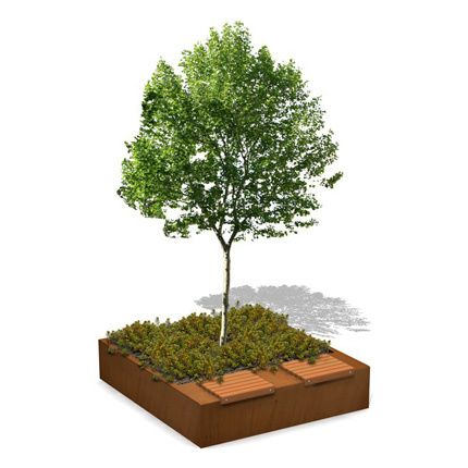 Tree Planter combined Green Bench with Individual Seating | Asvest ...