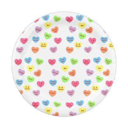 sc 1 st  Pinterest & Conversation Hearts Paper Plate