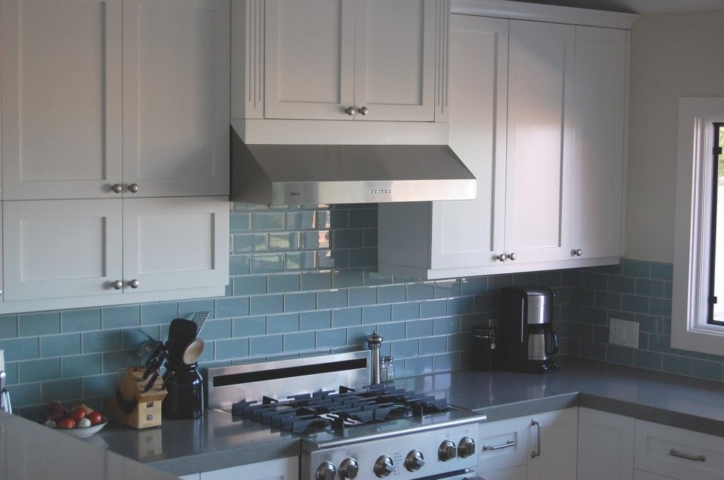White Cabinets Grey Counters Blue Glass Backsplash Yes Yes