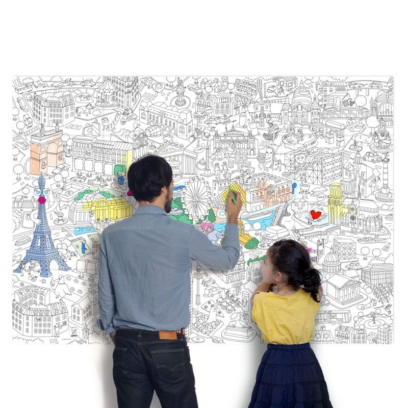 A great art project for kids: coloring huge coloring maps. It can ...