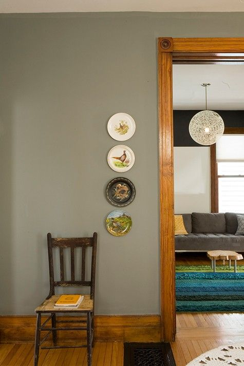 Gray Painted Walls With Wood Trim