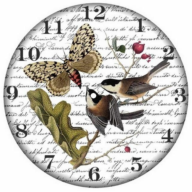 .Chickadees and butterfly clockface