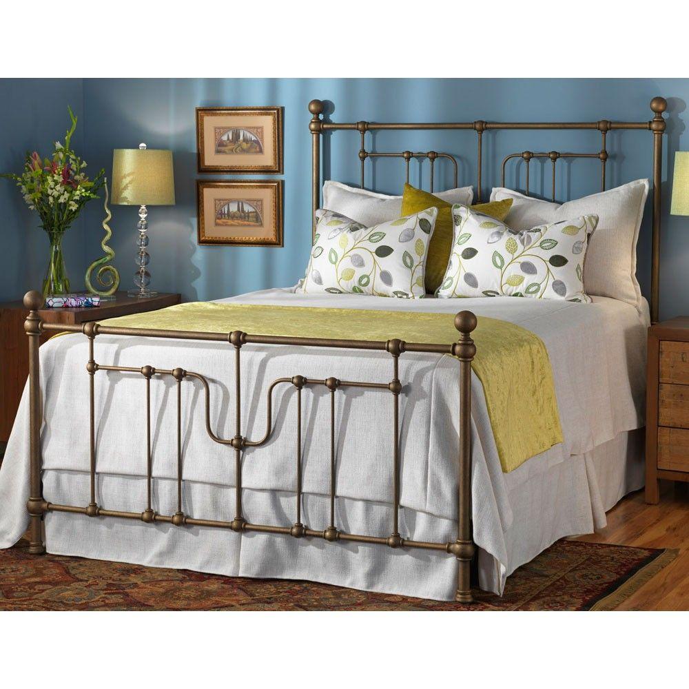 Evanston Iron Bed Shown in Brass Bisque Iron bed, Luxury