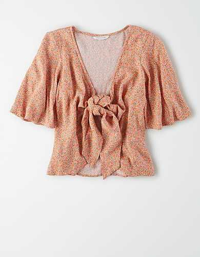 AE Short Sleeve Tie Front Top