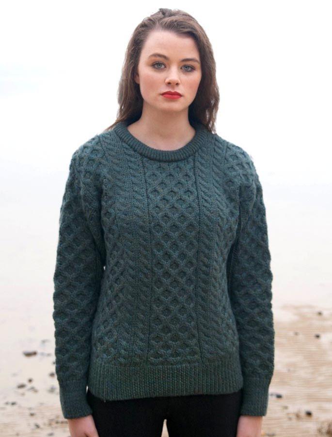Women's Heavyweight Traditional Aran Wool Sweater | Wool