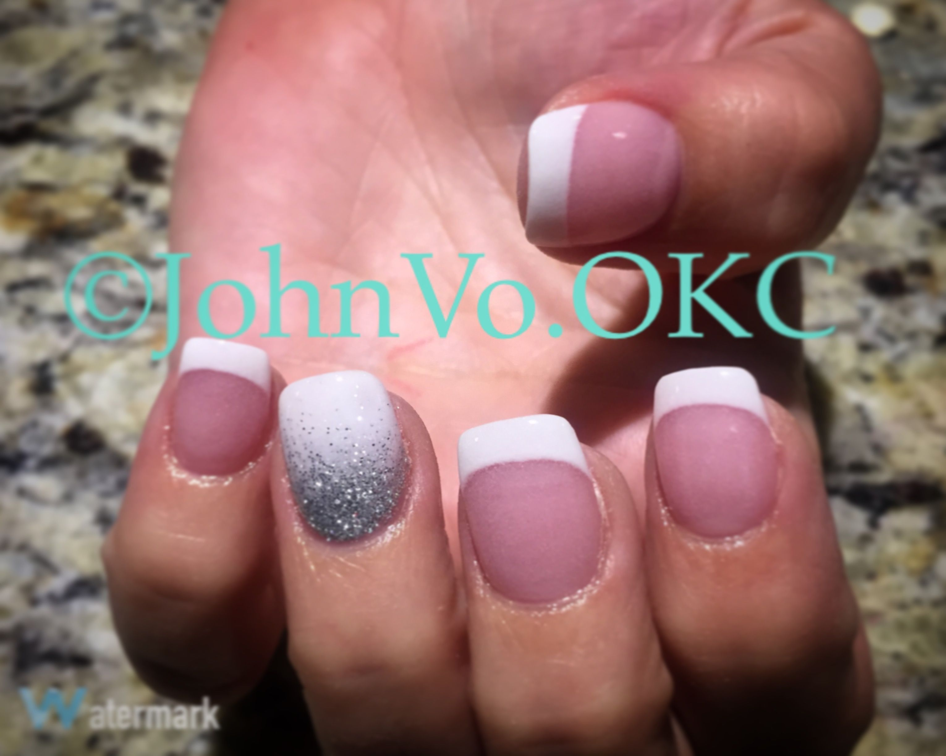 Pink and white nails w/ white and Glitter Ombre accent nail. Dipping ...