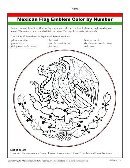 Mexican Flag Coloring Activity Worksheet For Kids Mexican Flags