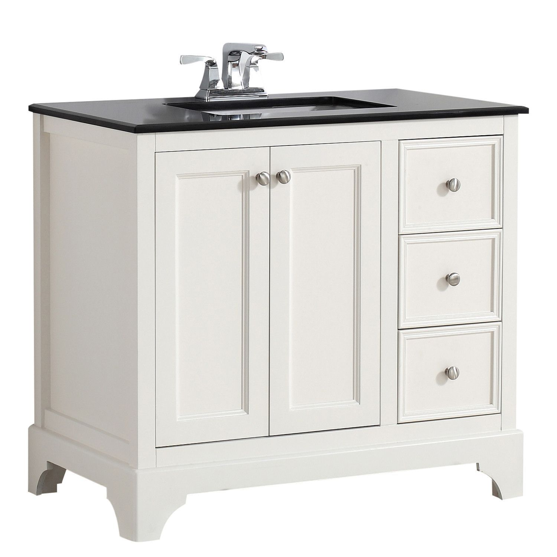 Cambridge 36 Inch Bath Vanity In Soft White With Black Granite Top
