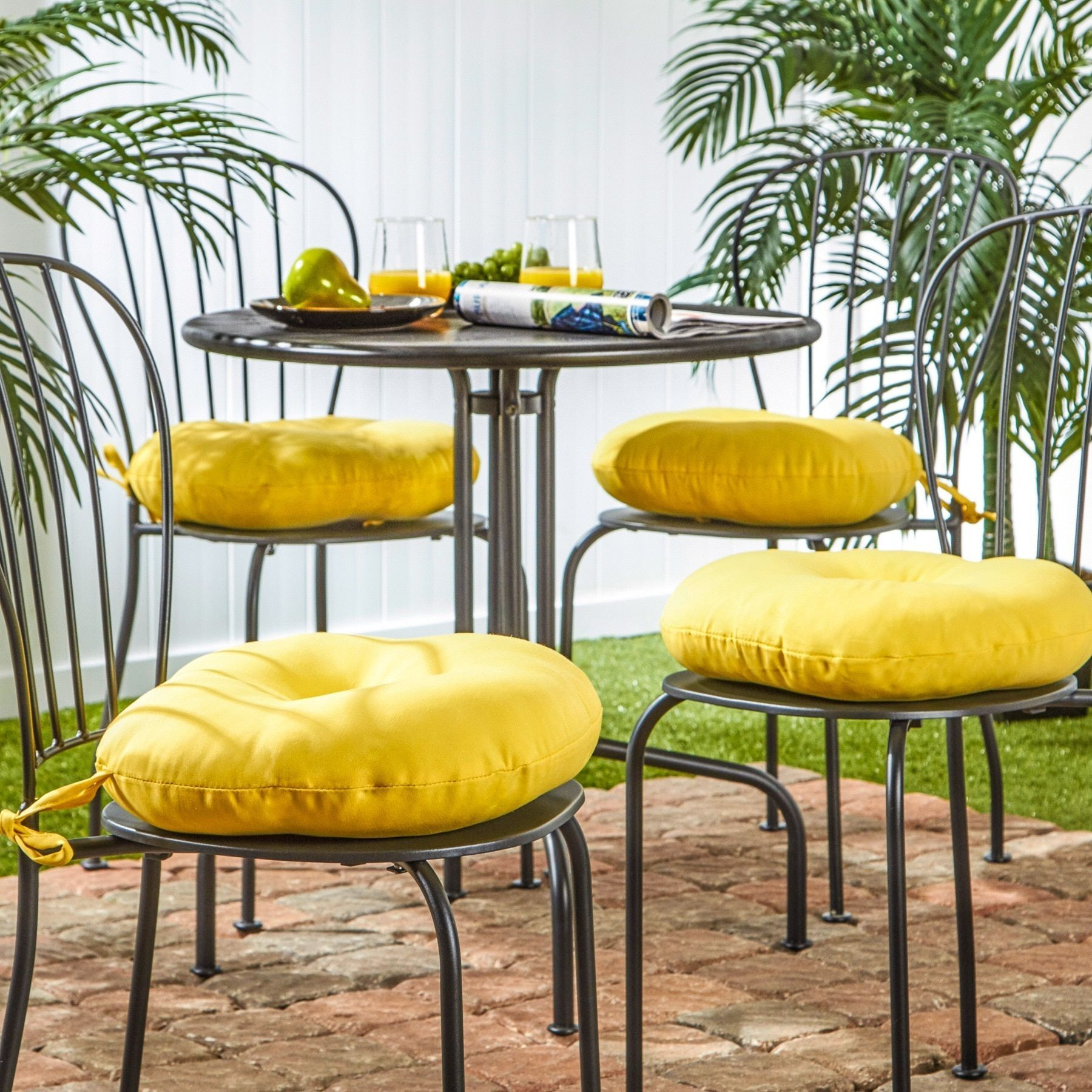 15 Inch Round Outdoor Sunbeam Bistro Chair Cushion Set Of 4