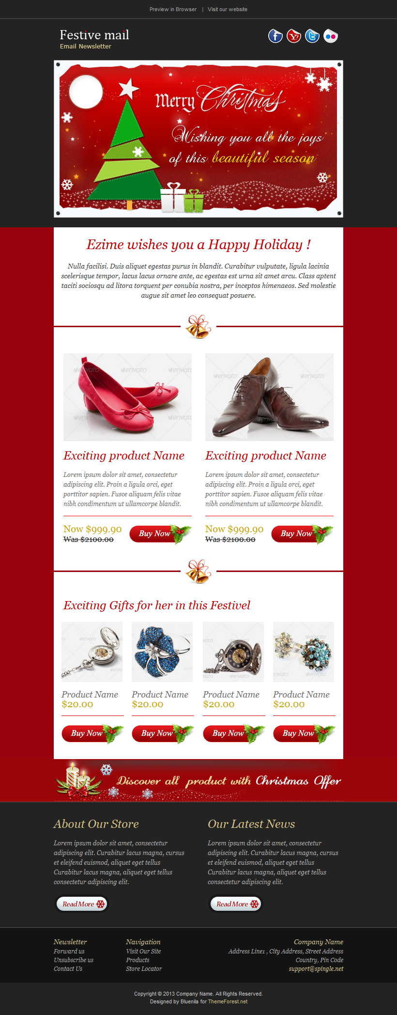 Beautiful Email Newsletter For Christmas And New Year Available