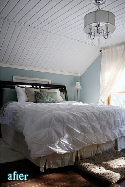 Love The Bedspread And The Chandelier 3 Slanted Ceiling Bedroom Sloped Ceiling Bedroom Small Bedroom Remodel