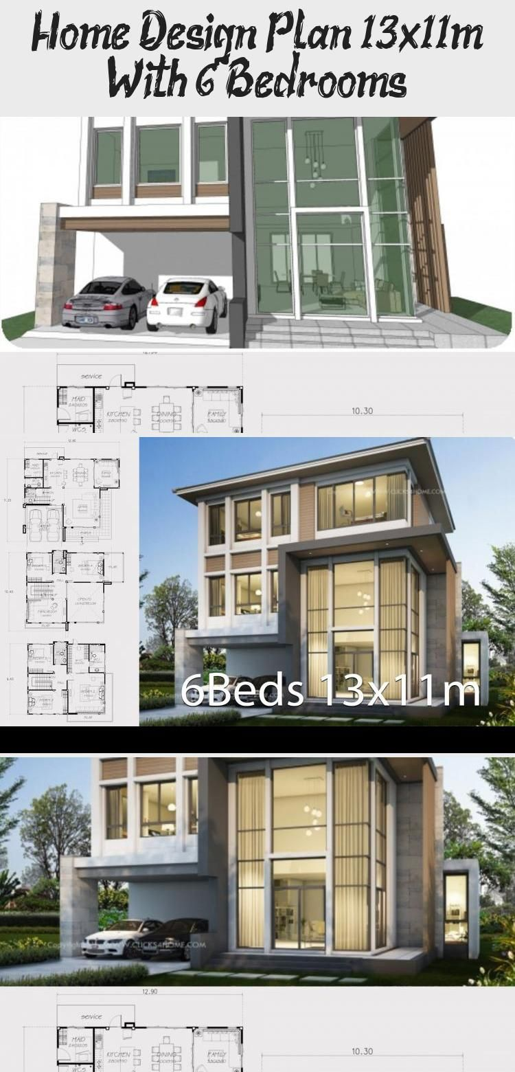 Home Design Plan 13x11m With 6 Bedrooms In 2020 Home Design Plan Modern House Design House Design