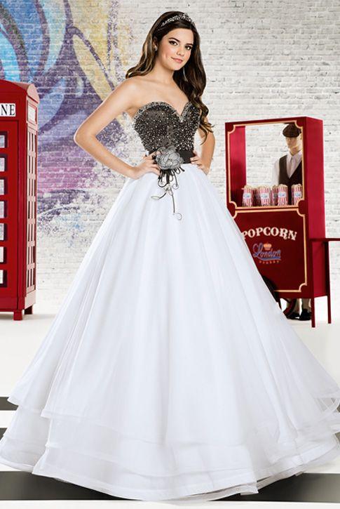 c30a7b7a25 Vestido de debutante London Street 03 Preto e Rosa ou Preto e Branco 2 em 1