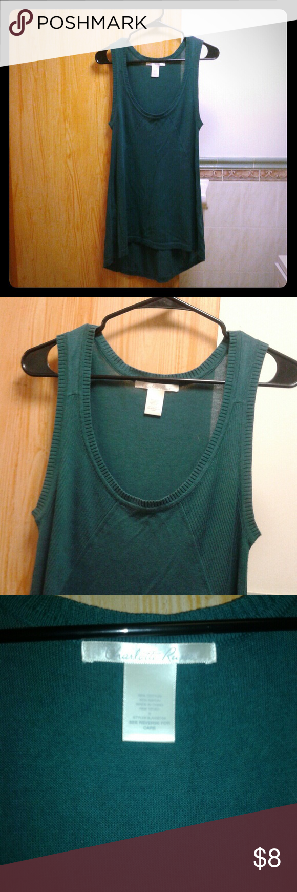 Green CharlotteRusse top Great Condition!  Long/Forest Green  Tag Says S - Should fit a M fine too  60% Cotton/ 40% Rayon Charlotte Russe Tops Blouses
