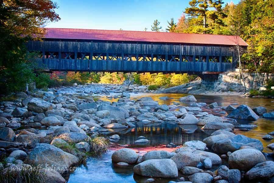 Covered Bridge on the Kancamagus - New England fall foliage