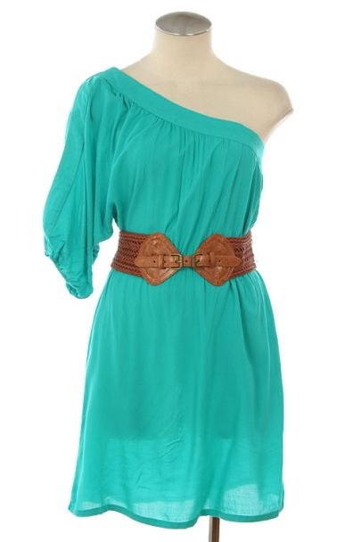 Love the color!  I am reposting this because of my thoughts on this dress. I like it but it needs the other sleeve... Hahaha