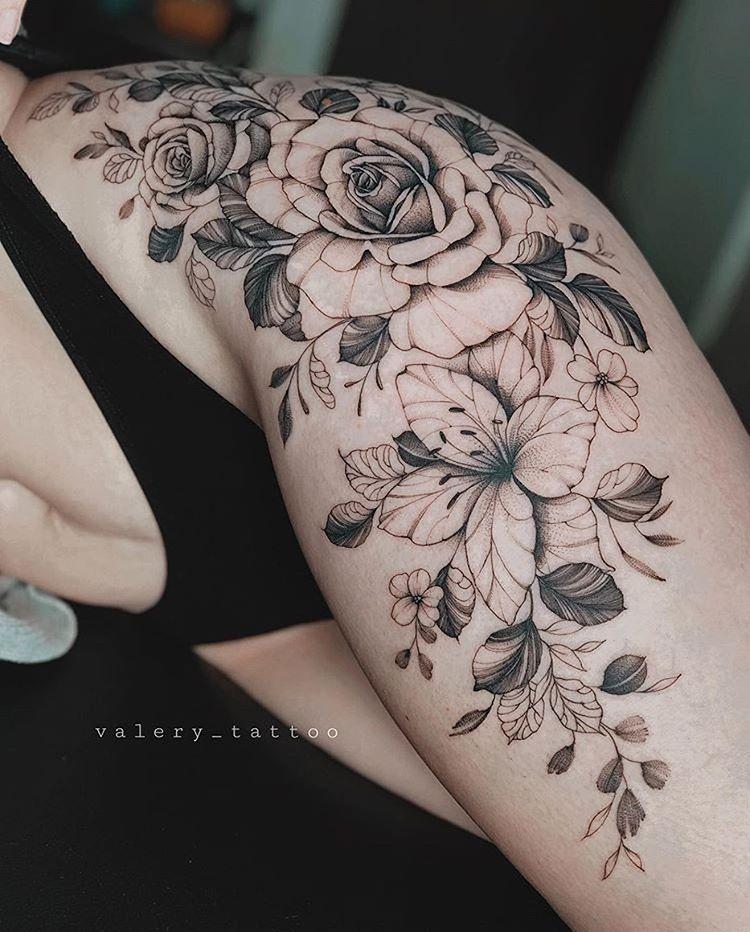 "Photo of Tatuagens 🧿 Goiânia on Instagram: ""Floral 💐 Feita pela Artista: @valery…"