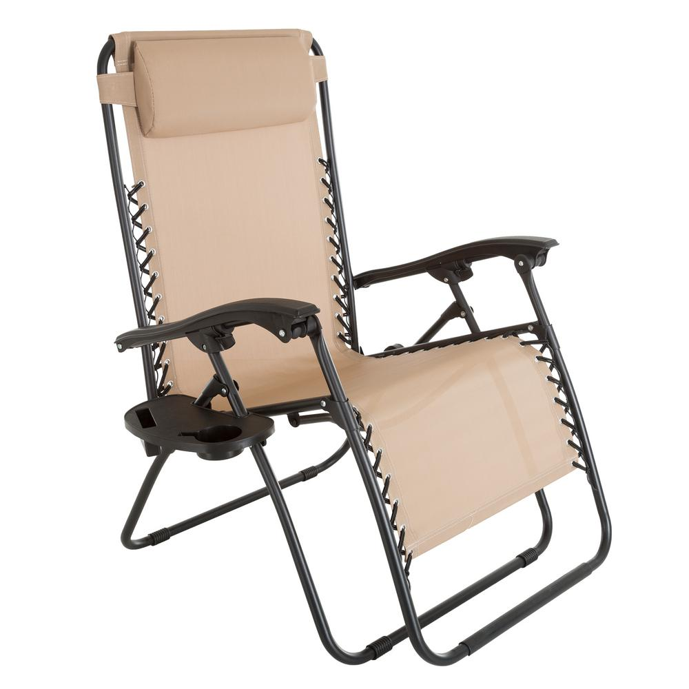 Pure Garden Oversized Zero Gravity Patio Lawn Chair In Beige M150114 The Home Depot Gravity Chair Patio Lawn Chairs Zero Gravity Chair