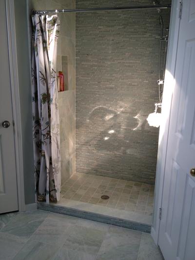 walk in shower using a shower curtain bathroom remodel pinterest basements basement. Black Bedroom Furniture Sets. Home Design Ideas