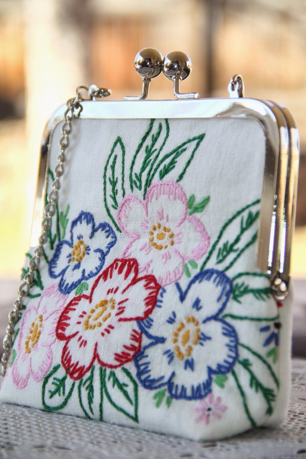 Isa creative musings vintage embroidered linen clutches