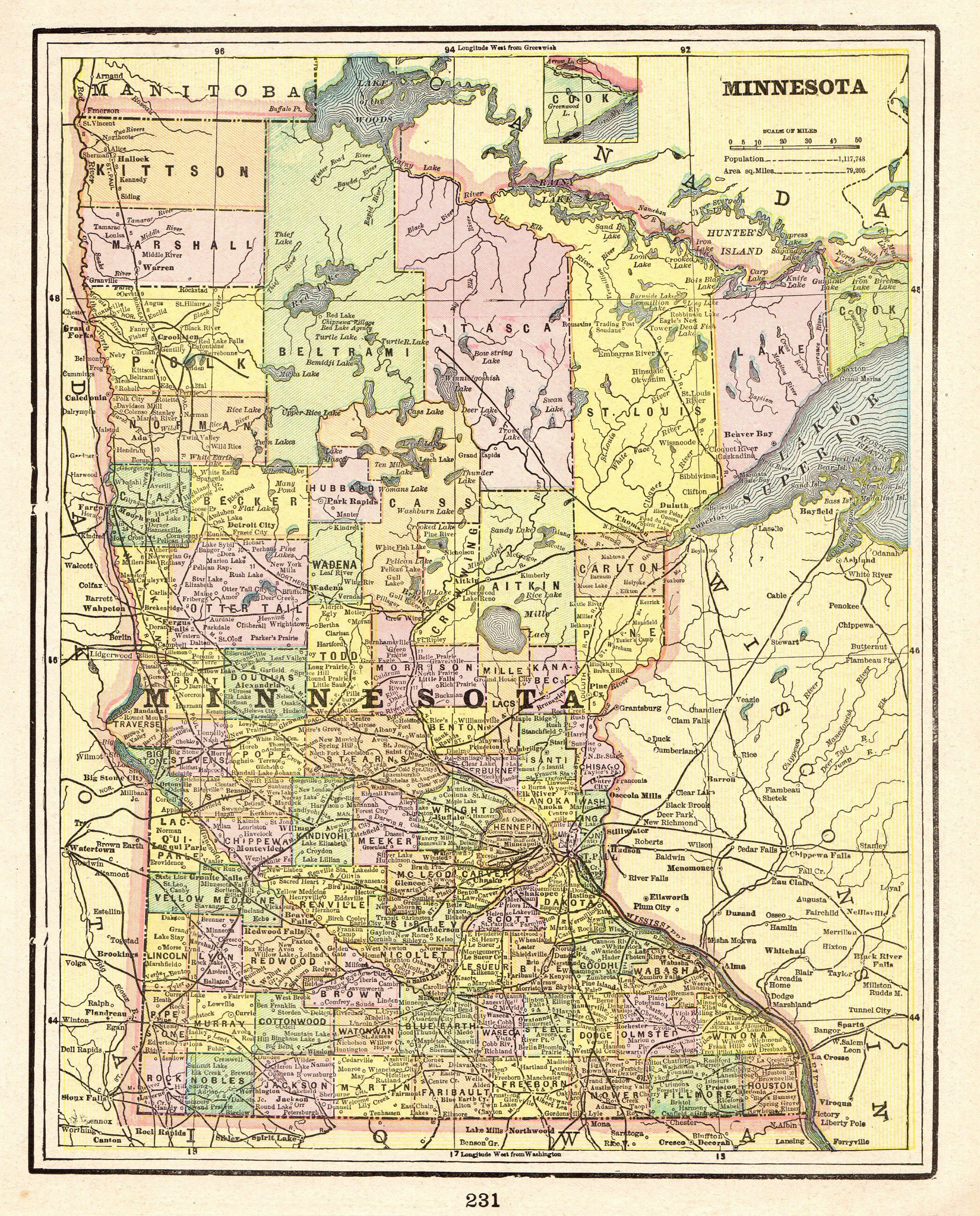 1900 Antique MINNESOTA Map Vintage Map of Minnesota State ...