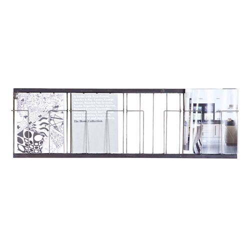 Porte-revue mural horizontal en métal vieilli noir 4 cases   Déco ...