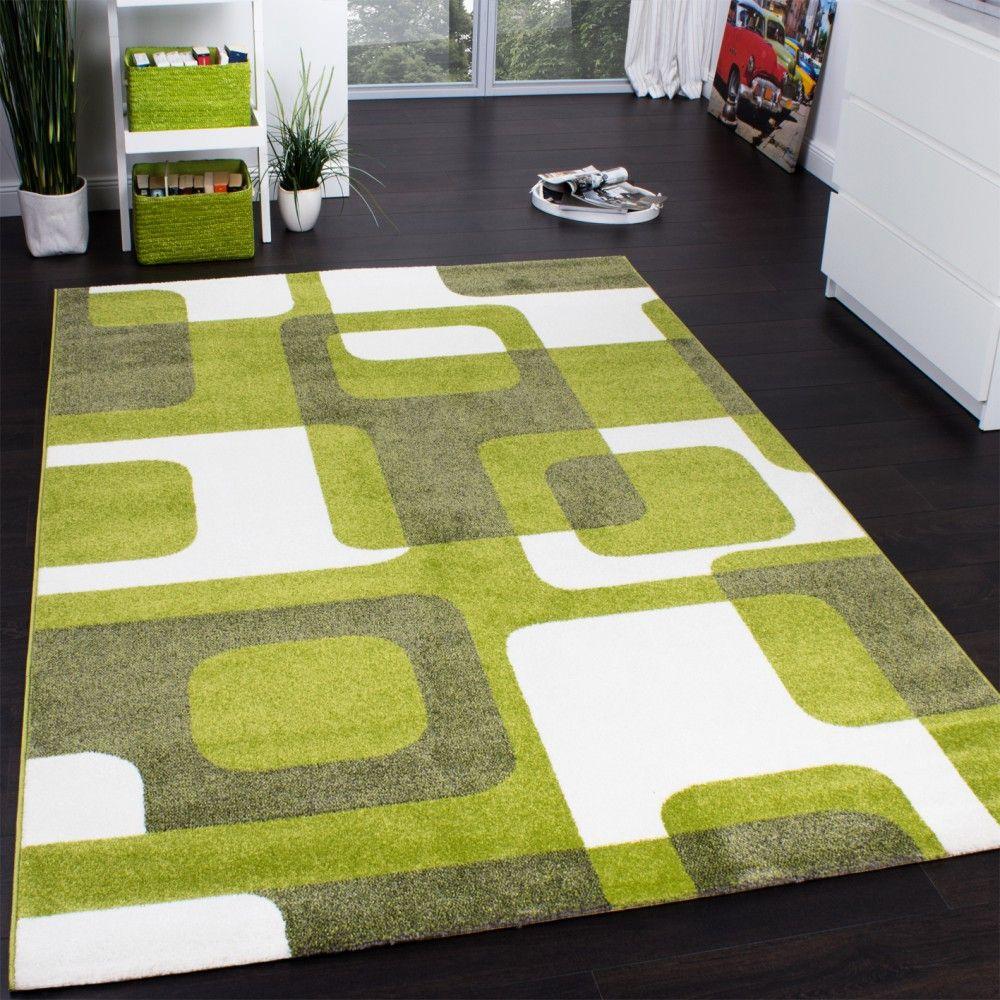 Teppichboden kinderzimmer grün  Designer Teppich Trendiger Retro Teppich Kurzflor Webteppich in ...