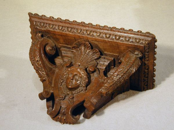 "Regence period carved walnut wall bracket shelf Ca1720 France. 7.28""H x 11.61""W x 5.71""D."