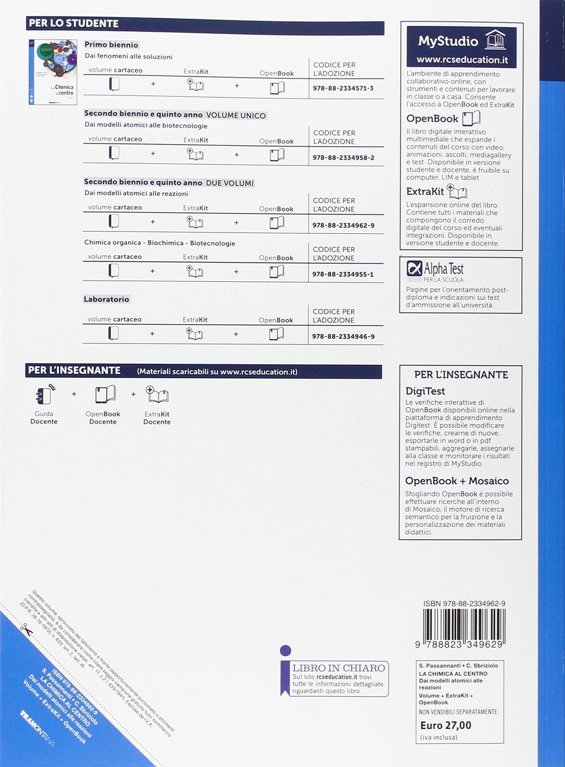La chimica al centro  Con cetrakit-Openbook  Per le Scuole