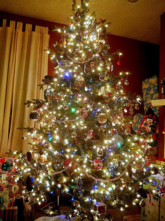 Christmas Tree With Small And Big Colored Lights Pine Deluxe Layered Pre Lit Christmas Tree Reviews Buz Pre Lit Christmas Tree Christmas Tree Christmas