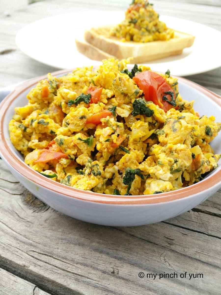 Spinach Egg Bhurji | Breakfast | Spinach egg, Egg bhurji