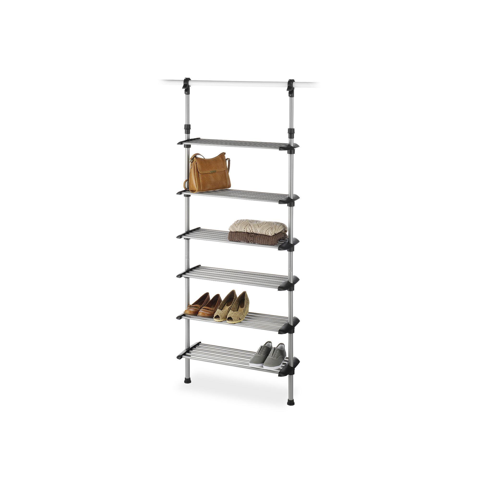Whitmor 6 Shelf Closet Rod Closet System, Grey