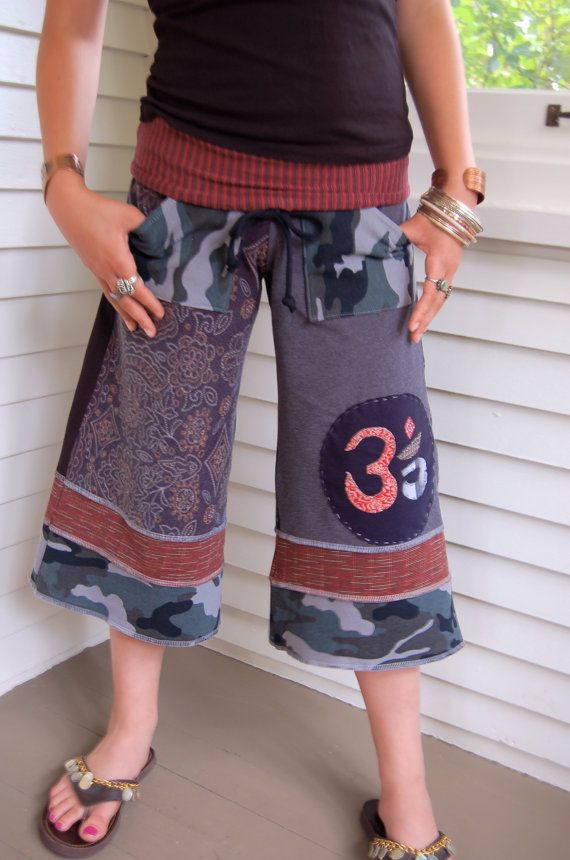Patchwork Eco Gaucho PANTS upcycled clothing cropped by zasra. $85.00, via Etsy.