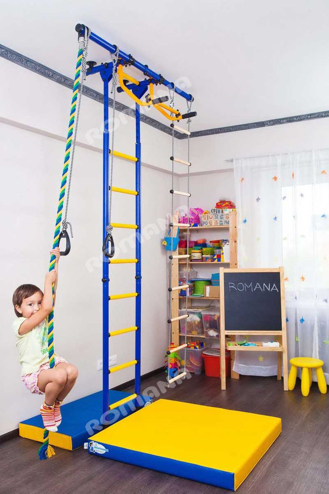 Type Of Mounting In The Spacers Between Floor And Ceiling This Model Comes With Gymnastic Ladder Gymnastic Rings With Images Playground Set Kids House Attic Remodel