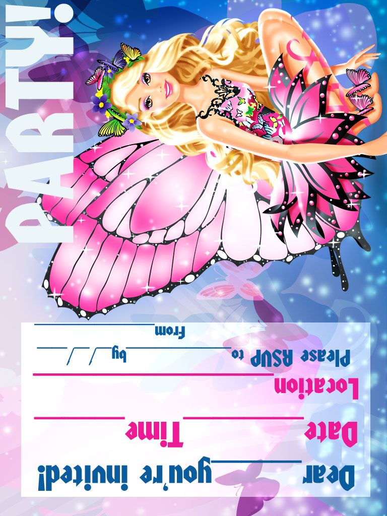 Coloring page birthday invitaion - Barbie Coloring Pages
