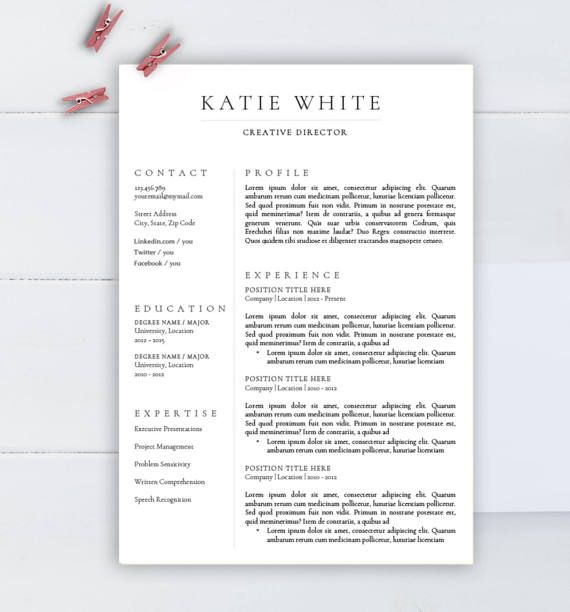 Minimalist Resume Template, CV Template For Word, Two