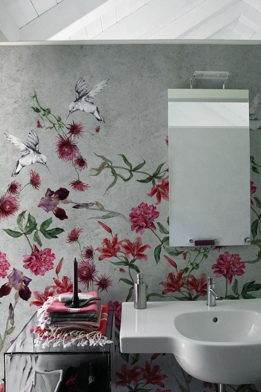 Carta da parati con motivi floreali colibreeze by wall for Wallpaper carta da parati