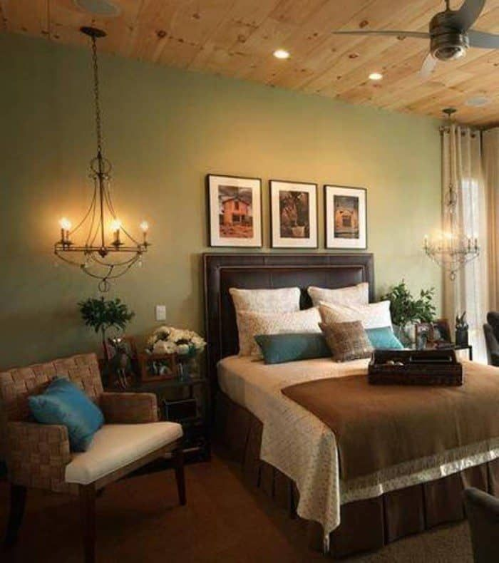 sage green bedrooms with wooden ceiling  earthy sage