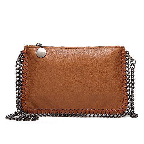 553da47773533 Angleliu Damen PU lässigen Kette Handtasche Modisch Schultertaschen Glitzer  Beuteltasche (Kleine braune Tasche)  shoppondotaschen