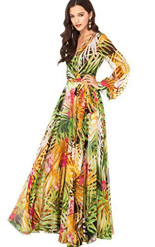 246cddb468b ACEVOG Summer Women Flower Print V Neck Long Sleeve Chiffon Long Maxi Dress  ACEVOG http