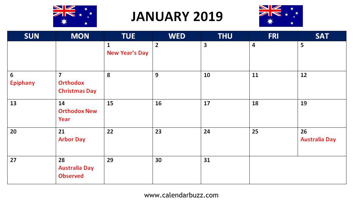 January 2019 Holidays Calendar Printable Download Holiday