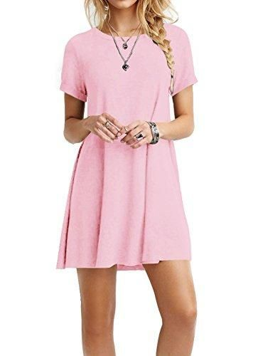 fff41666e77 TINYHI Women s Casual Plain Flowy Simple Swing T-shirt Loose Dress ...